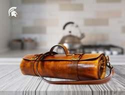 Cuchillo de cuero rollo Chefs rollo personalizado rollo regalos para chef cuero cuchillo bolsa cuchillos herramienta de almacenamiento rollo regalo de cumpleaños