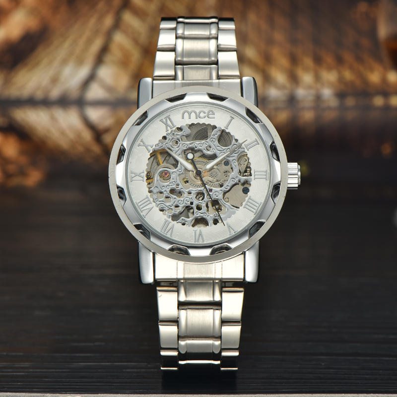 2018 new MCE brand Automatic Mechanical Watches for men fashion Skeleton Luxury Watch business silver stainless steel clock 061 new ik gold skeleton lxuury watch men silver steel automatic mechanical watches mens fashion business dress wristwatch relogio