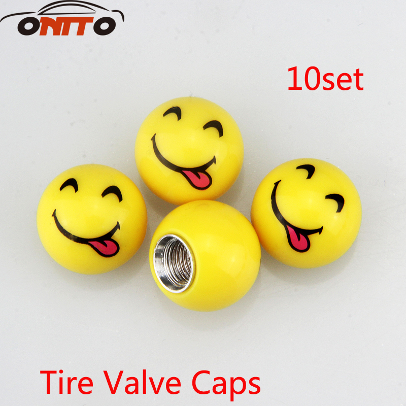 10 set Universal Car Tyre Air Valve Caps Tire Valve Cap Car Wheel Styling Round Spit tongue face expression