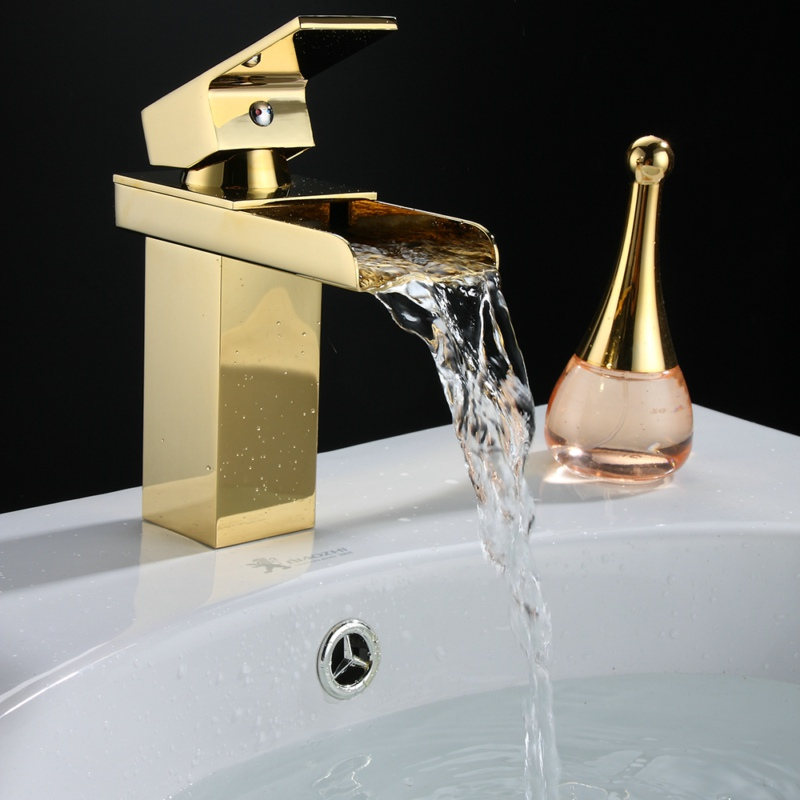 BECOLA brand gold tap hot and cold water brass faucet bathroom basin faucet waterfall LT-501k becola chrome waterfall bathroom faucet brass hot and cold water faucet free shipping lt 601