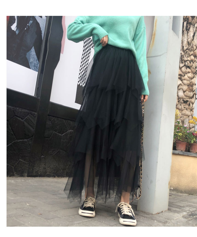 Women irregular Tulle Skirts Fashion Elastic High Waist Mesh Tutu Skirt Pleated Long Skirts Midi Skirt Saias Faldas Jupe Femmle 23