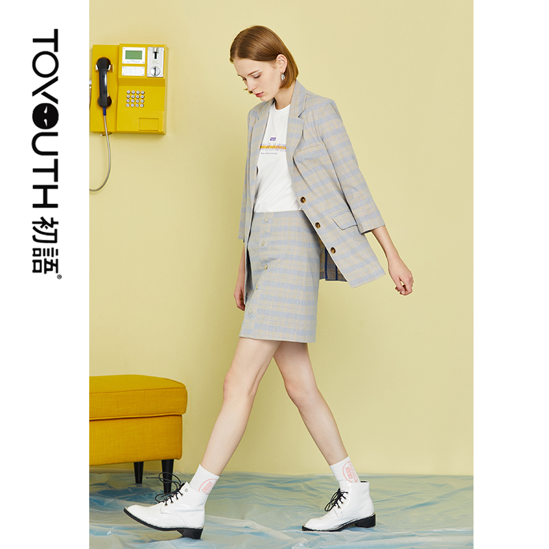 Toyouth Plaid Work Wear Office Lady Blazers Three Quarter A Line Skirt Womens Two Piece Sets 2019 Elegant 2 Piece Women Set
