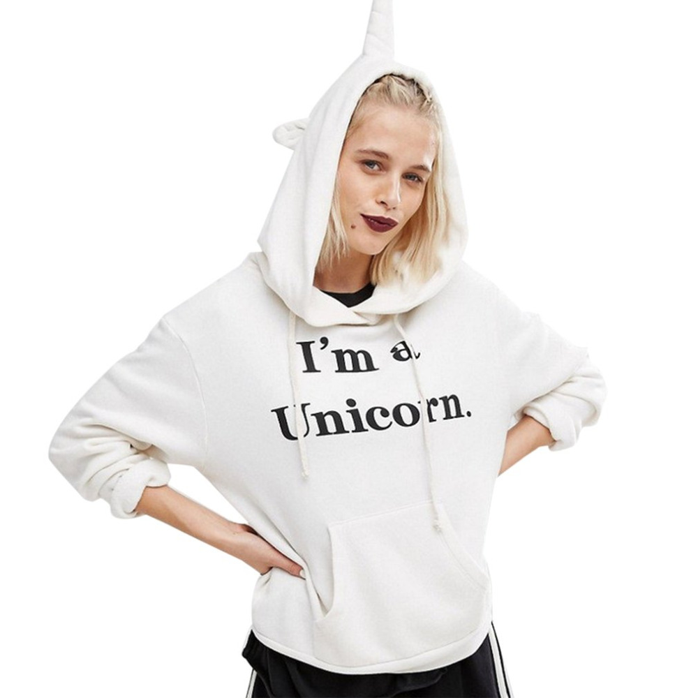 Fashion Women Hoodies 2017 New America European Funny Unicorn Pattern Girl Sweatshirt Casual Long Sleeve Hooded Winter Puliover