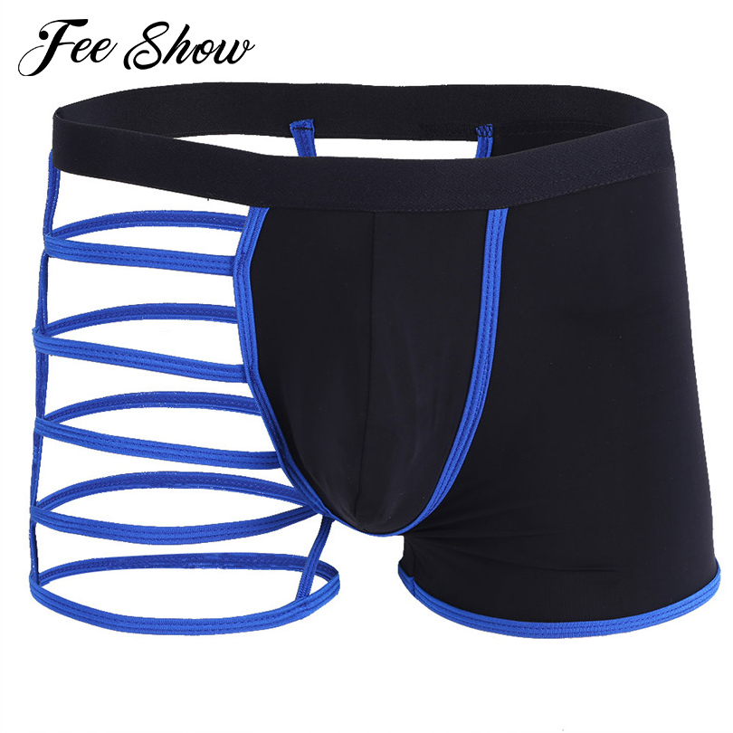 Gay Men Lingerie Strappy Boxer Shorts Underwear Underpants Sexy Men's Lingerie Boxer Underwear Semi See-through Underpants