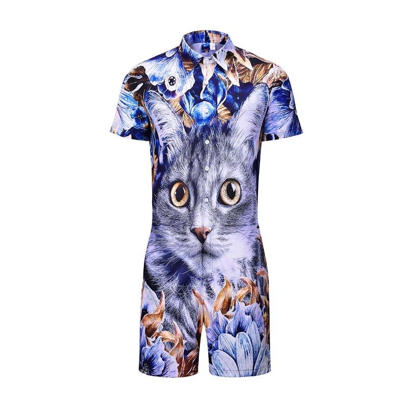Cute Cat Amimal 3D Print Rompers Men Short Sleeve 3d Jumpsuit Playsuit Harem Cargo Overalls Summer One Piece Sleepwear Male Sets
