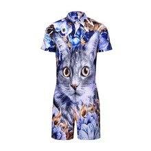 Cute Cat Amimal 3D Print Rompers Men Short Sleeve  Jumpsuit Playsuit Cargo Overalls One Piece Jumpsuit Hawaiian Shirts Men's Set