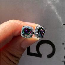 Mystery Female Rainbow Earrings Zircon Stone Earrings Silver Color Jewelry Vintage Wedding Stud Earrings For Women