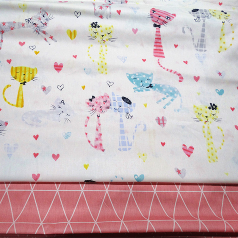 half meter happy cat print 100% cotton twill fabric infant bedding cloth children bed sheet bed sack tissue A713