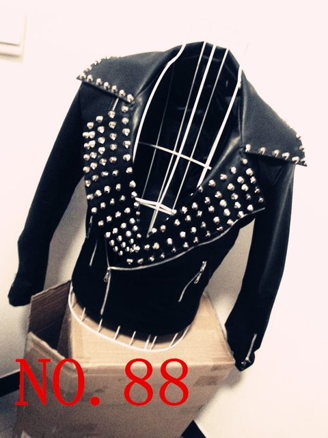 leather jacket Ds personality male fashion rivet clothing costume male motorcycle clothing boy collar dance,singer,show DJ,