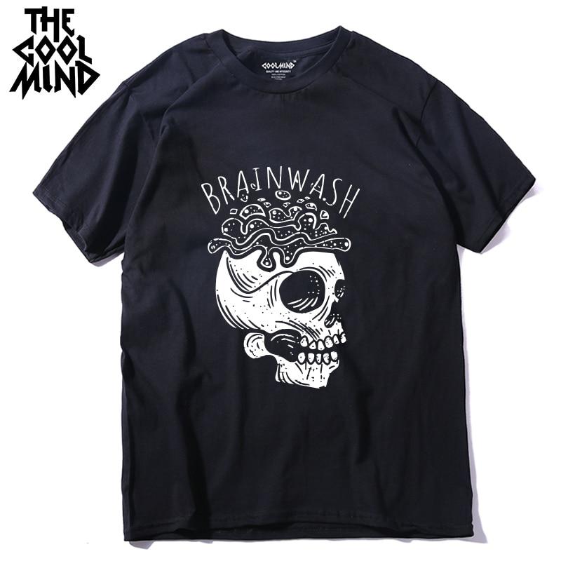 COOLMIND qi0421 100% cotton short sleeve slull brainwash print men T shirt casual cool men Tshirt loose summer t-shirt tees LMYX