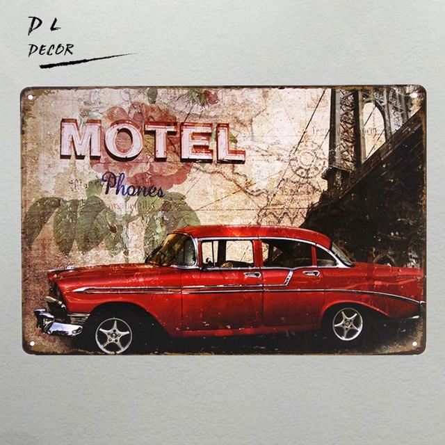 DL-Motel red car Metal/Tin sign home Decor Shop Bar garage modern wall & DL Motel red car Metal/Tin sign home Decor Shop Bar garage modern ...