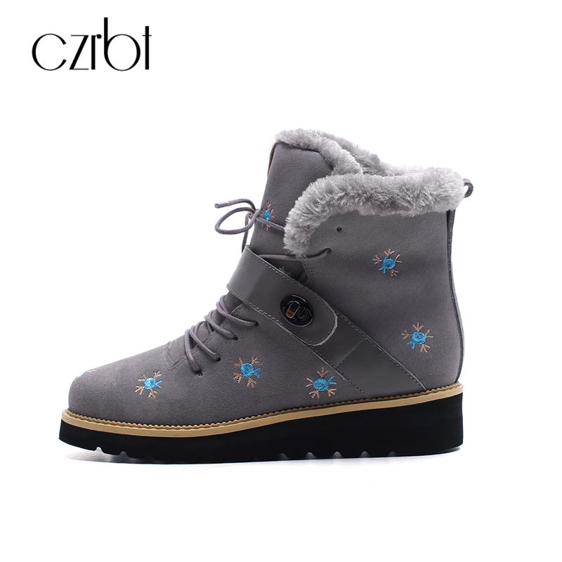 CZRBT Plus Size Winter Snow Boots Women Real Genuine Cow Leather Flat Heel Ankle Boots Warm Wool Shoes For Woman Free Shipping