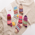 2016 New Autumn And Winter Retro National Wind  Rabbit Wool Women Socks Thick Warm Socks Female Girl In Tube Socks Free Shipping