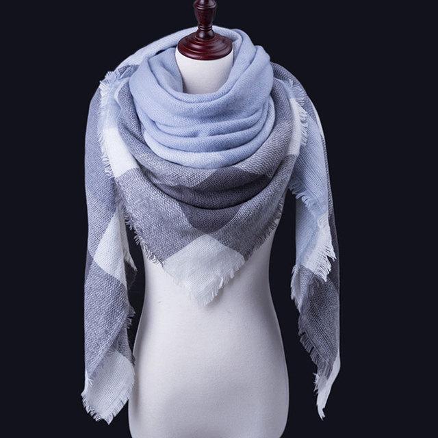 WISHCLUB Plaid Winter Scarf Ladies Brand Warm Scarves Women Fashion Triangle Winter Shawl Blanket Scarf Female Dropshipping gift