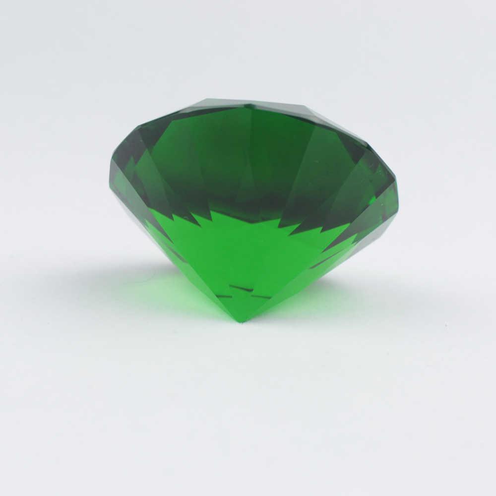 Gratis Pengiriman Gaya Vintage Emerald Warna Hijau 6 Cm Diameter Kaca Kristal Berlian dengan Berdiri Rumah Dekorasi Kerajinan Batu