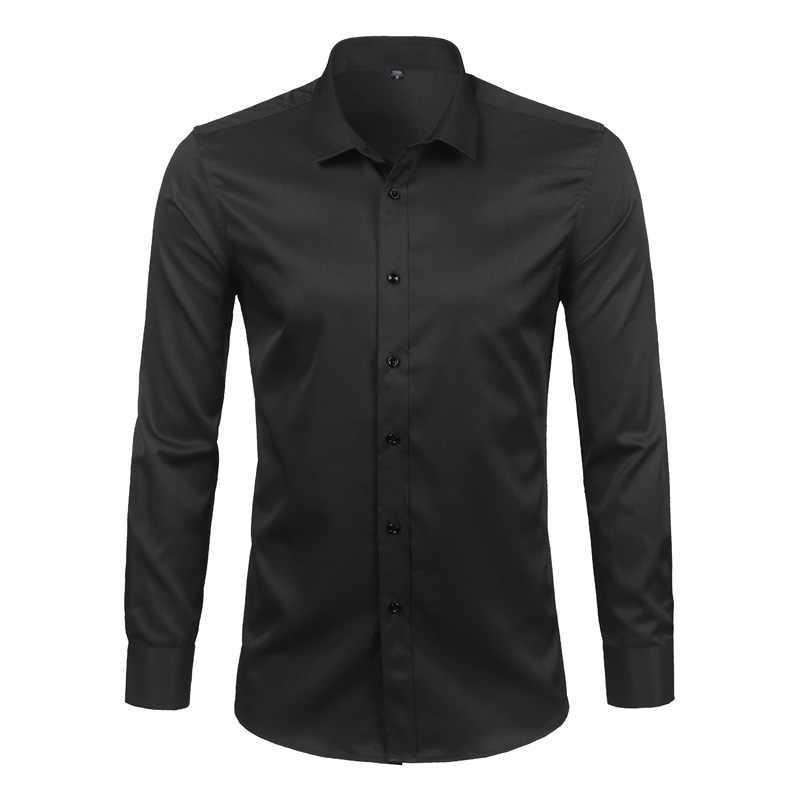 Черные мужские бамбуковые рубашки из бамбукового волокна 2018 новые Брендовые повседневные облегающие мужские платья с длинными рукавами рубашки нежелезные Твердые Chemise Homme 4XL