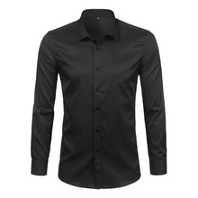 שחור Mens במבוק סיבי חולצות 2018 חדש לגמרי מזדמן Slim Fit ארוך שרוול חולצות גברים ללא ברזל מוצק תחתונית Homme 4XL