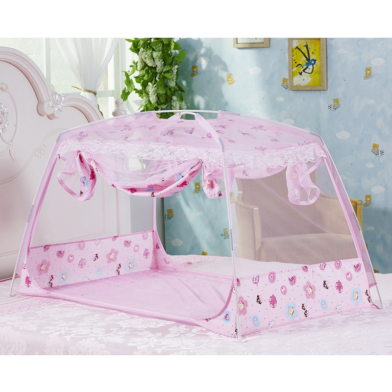Cute Cartoon Baby Bed Mosquito Net Folding Crib Mosquito Netting Tent Door Type Zipper Baby Bed Canopy Travel Kids Camping Tent