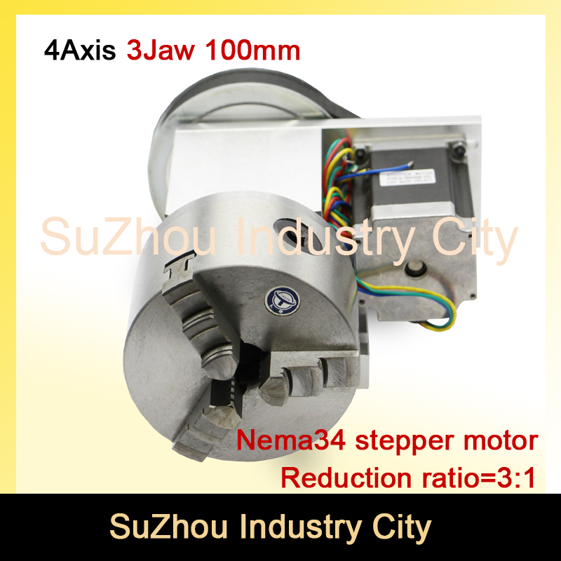3 Jaw 100mm chuck 4th Axis CNC dividing head/Rotation 3:1 with Nema34 for Mini CNC router/engraver woodworking engraving machine cnc 5axis a aixs rotary axis t chuck type for cnc router cnc milling machine best quality