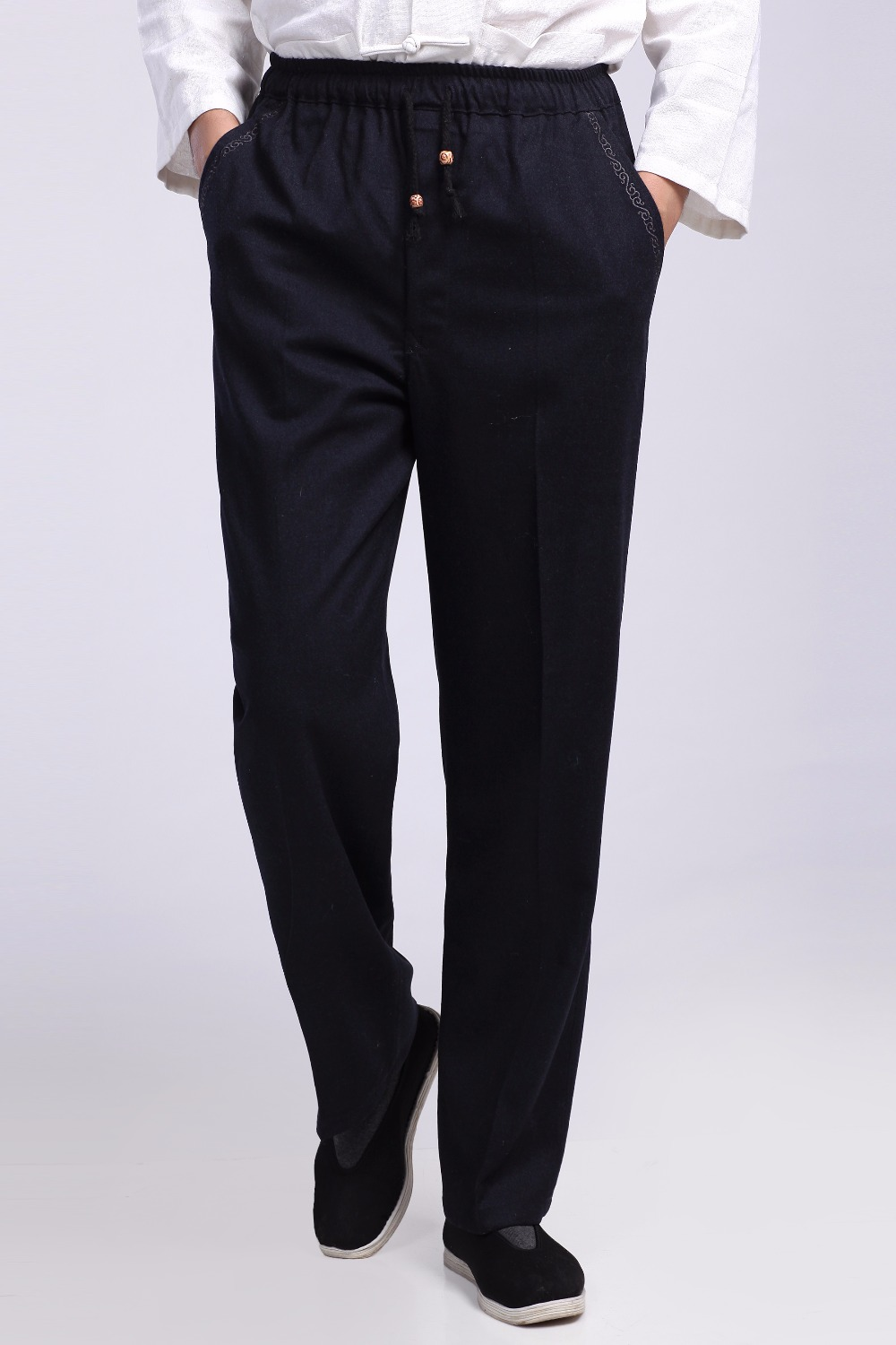 Shanghai Story Men's Cotton Linen Pants Chinese Traditional Wu Shu Trousers Male Kung Fu Pant 3 Color