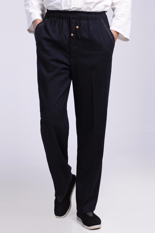 Шанхай история мужская хлопок белье брюки китайский традиционный ву шу брюки мужчины кунг-фу брюки 2 цвет