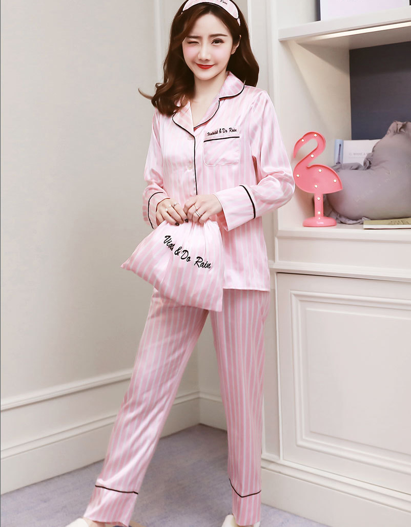Queenral 7 Pieces Women\'s Pajamas Set Satin Silk Lingerie Sleepwear Pyjamas Set For Woman Home Clothes Nightgown Underwear (2)
