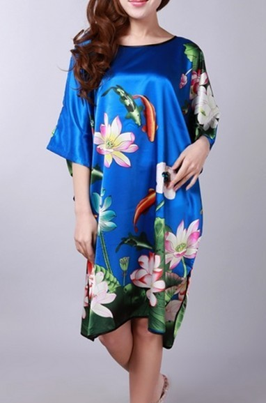 Hot Sale Blue Womens Soft Silk Sleepwear Fashion Printed Bathrobe Casual Home Wear Whole ...