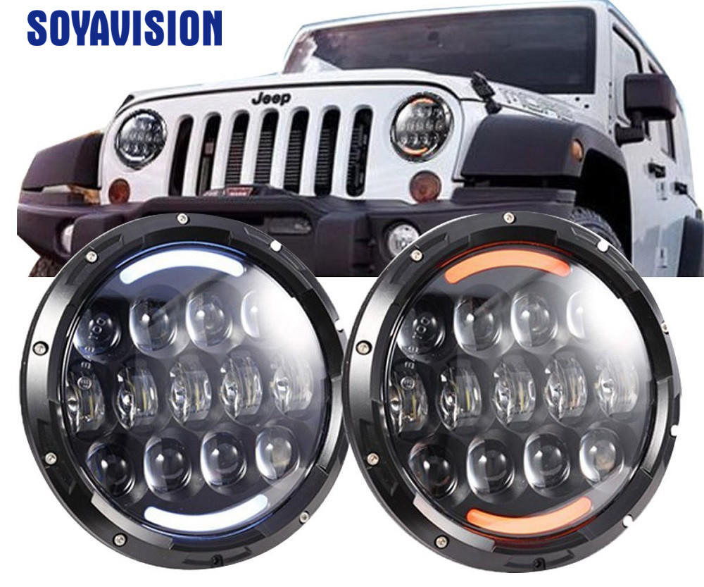 7 Inch 105W H4 LED Headlights Motor Lamp With Angle Eyes 7 Round Headlamp For Lada