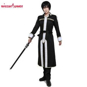 Image 3 - Sword Art disfraz para Cosplay de Kirito para hombre, uniforme de Halloween