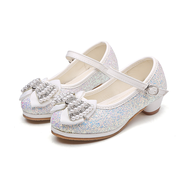 e4a668e02303 MSMAX Kids Glitter Bridesmaids Shoes Crystal High Heels Girl's Princess  Performance Shoes Mary Jane Sequins Dance Sandals-in Leather Shoes from  Mother ...