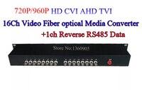 16Ch 960 P AHD CVI TVI Video mit 1ch reverse RS485 daten Optische Konverter 20 km glasfaser video optische sender & empfänger-in Getriebe & Kabel aus Sicherheit und Schutz bei