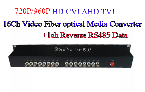 16Ch 960P AHD CVI TVI Video With 1ch Reverse RS485 Data Optical Converter 20km Fiber Optic Video Optical Transmitter & Receiver
