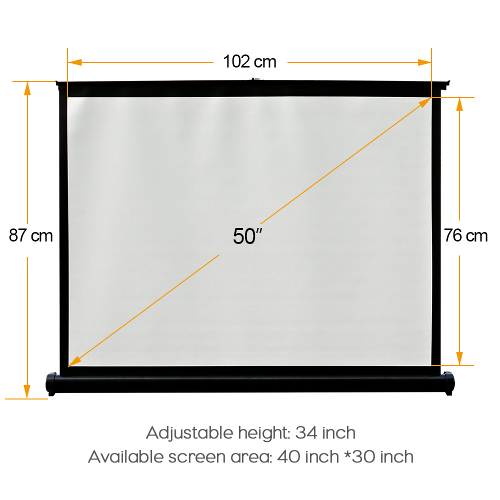 CAIWEI New Tabletop Projection Screen 4:3 for HD Movie Cinema Theater floding projector Screen 50 inch projection screen fabric nierbo 250 inches rear screen 16 9 4 3 hd home cinema portable rear projection screen wall mounted shop business show business