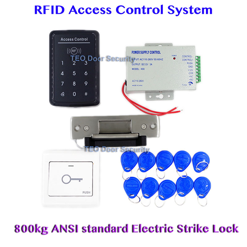 Touch to Open Door RFID Access Door Access Control System Heavy Duty Electric Strike Lock 110V to 240V DC 12V 3A Power Supply ansi standard heavy duty electric strike lock 800kg holding force glass door electric strike power to unlock lock adjustable