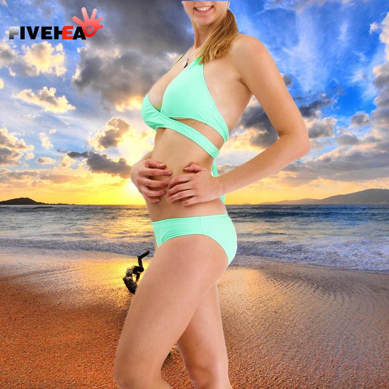 Urlaub sexy reine Farbe Bikini Design große Brust Dreieck & kleine - Sportbekleidung und Accessoires - Foto 1