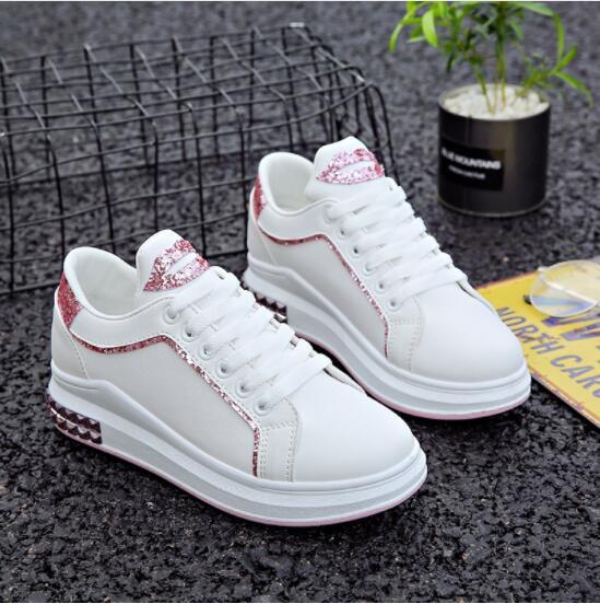 Spring New Designer Wedge White Platform Sneakers Women Shoes Fashion Tenis Feminino Casual Female Shoes Woman Basket Femme 2018