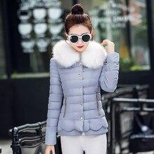 2016 новый Корейский Тонкий короткий параграф воротник шерстяное пальто хлопка зимняя куртка женщин