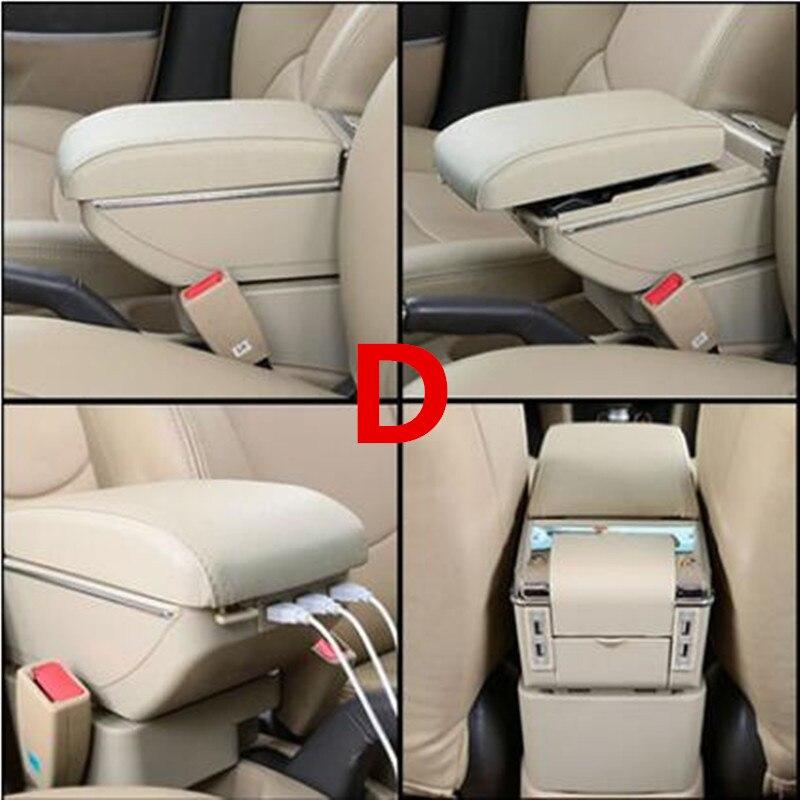 Для Volkswagen Polo подлокотник коробка Polo V Универсальный 2009- Автомобильная центральная консоль Модификация аксессуары двойной приподнятый с USB - Название цвета: D style Beige