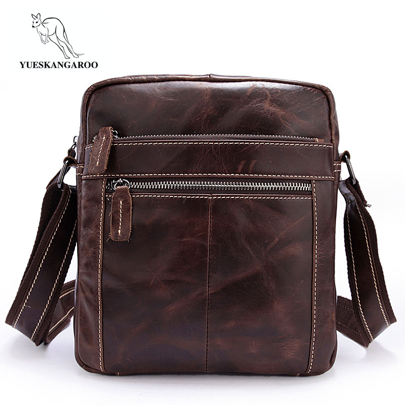 YUESKANGAROO Genuine Leather Men Bags Hot Sale Male Small Messenger Bag Man Fashion Crossbody Shoulder Bag Men's Travel New Bags genuine leather men bags hot sale male small messenger bag man fashion crossbody shoulder bag men s travel new bags li 1850