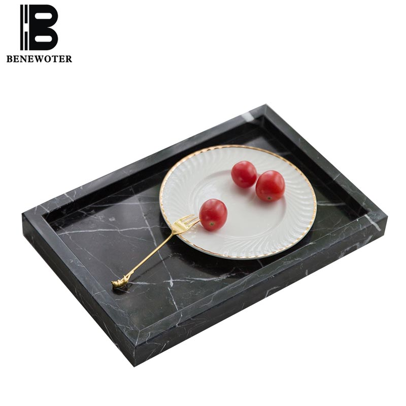 Nordic Style Brief Natural Marble Rectangle Display Tray Cake Dessert Fruit Plate Jewelry Cosmetic Dish Wedding Party Home Decor