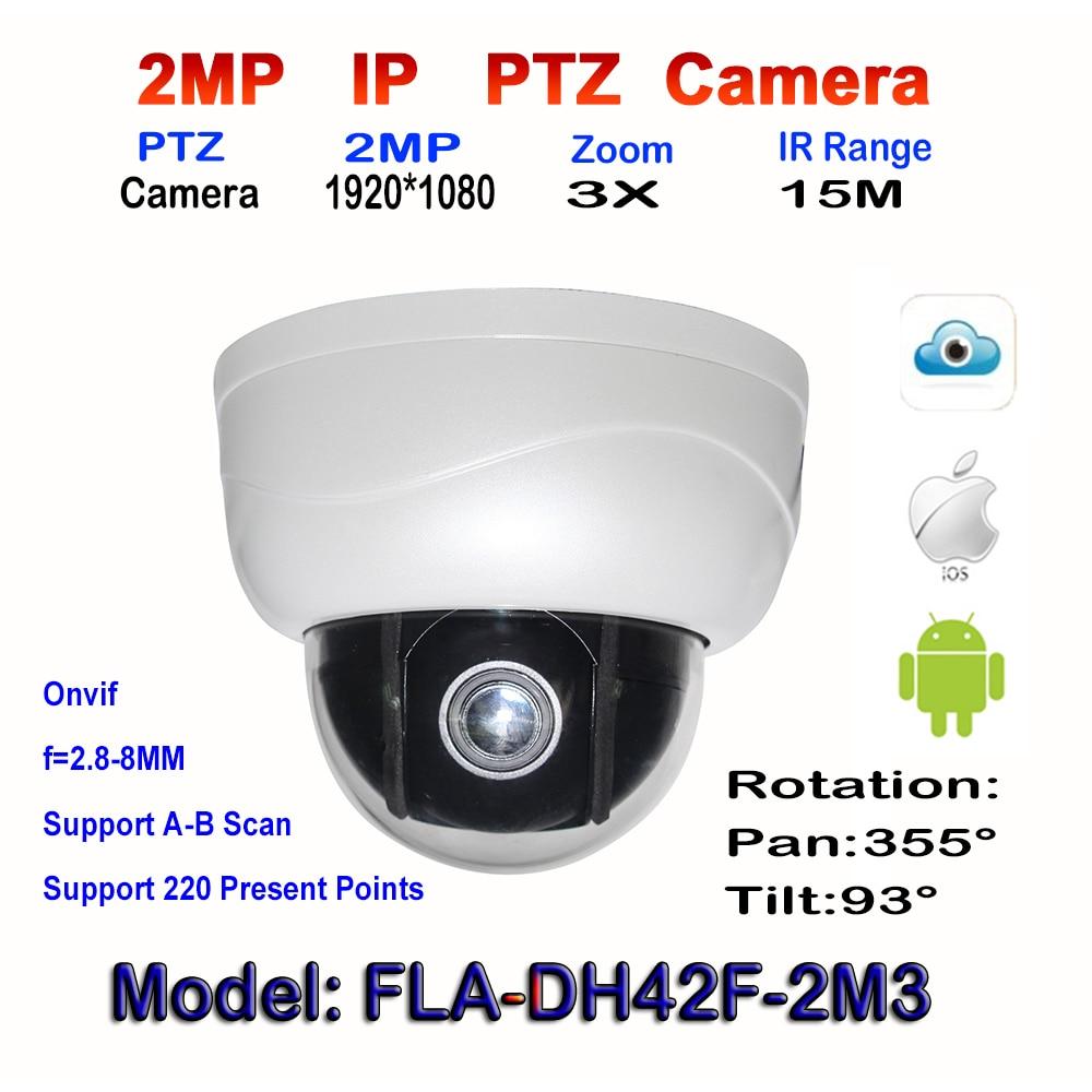 bilder für 2mp megapixel Pan Tilt Dome Kamera 2,5 Zoll Mini 1080 P Netzwerk onvif mit 3X Optional Zoom 15 Mt IR Nachtsicht indoor web-kamera
