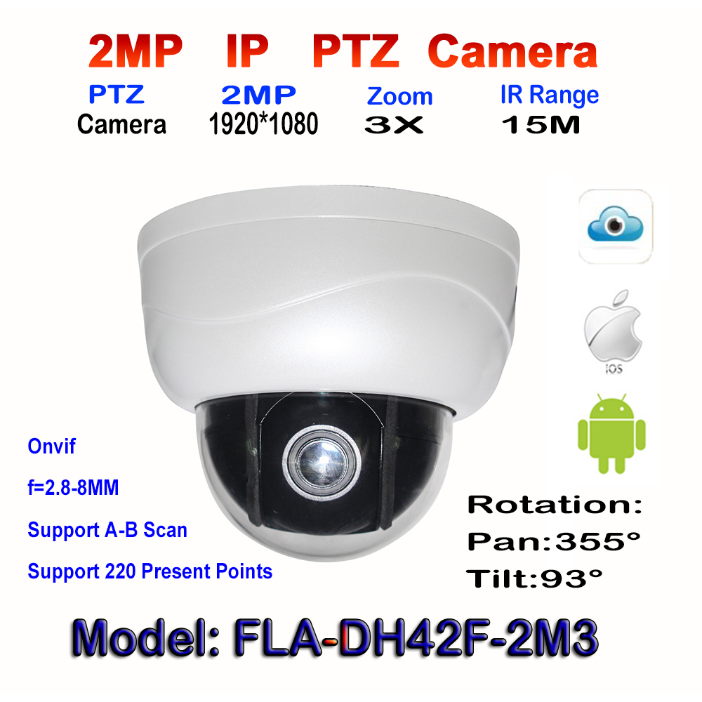 2mp megapixels Pan Tilt Dome Camera 2.5Inch Mini 1080P Network onvif with 3X Optional Zoom 15M IR Night Vision indoor Web camera удлинитель zoom ecm 3