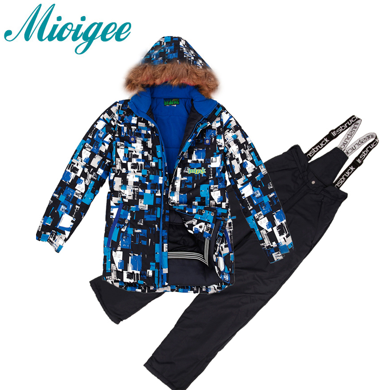 Mioigee 2017 Children Suit Boys Tracksuit Outdoor Ski Warm Jackets+Bandage Pants Winter Sport Sets for 8-16T 2016 winter boys ski suit set children s snowsuit for baby girl snow overalls ntural fur down jackets trousers clothing sets