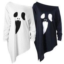 Страшный костюм на Хэллоуин с изображением лица призрака, костюм для взрослых и женщин, Свободный Топ-рубашка для девушек, белый и черный цвета