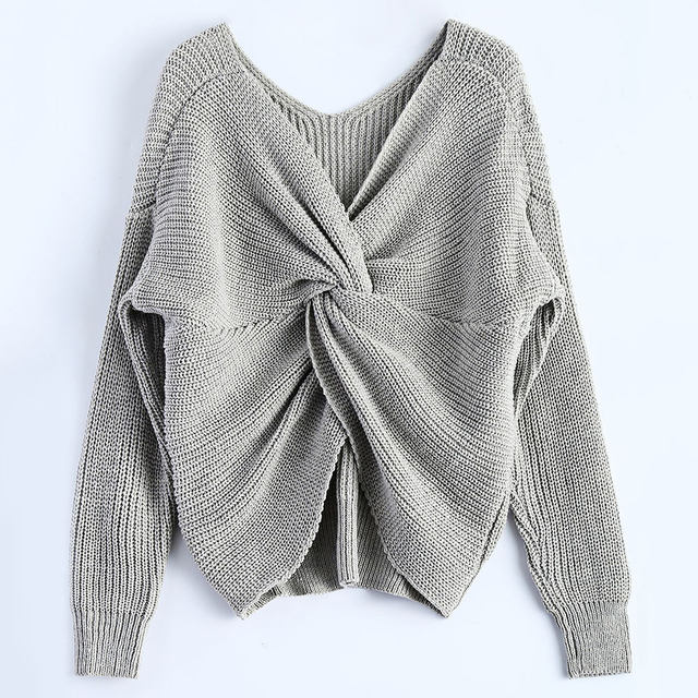 Casual V Neck Twisted Back Sweater