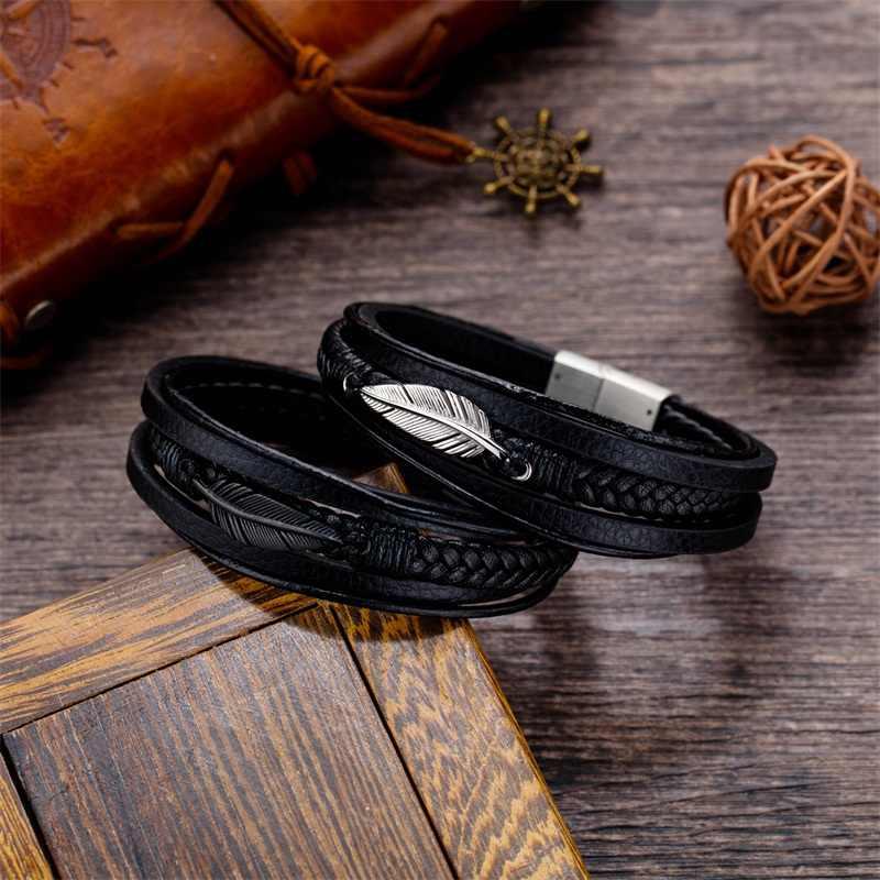 AZIZ BEKKAOUI wielowarstwowe pióro skórzana bransoletka dla mężczyzn czarny Punk skóry wołowej bransoletki ze stali nierdzewnej biżuteria prezent Dropshipping