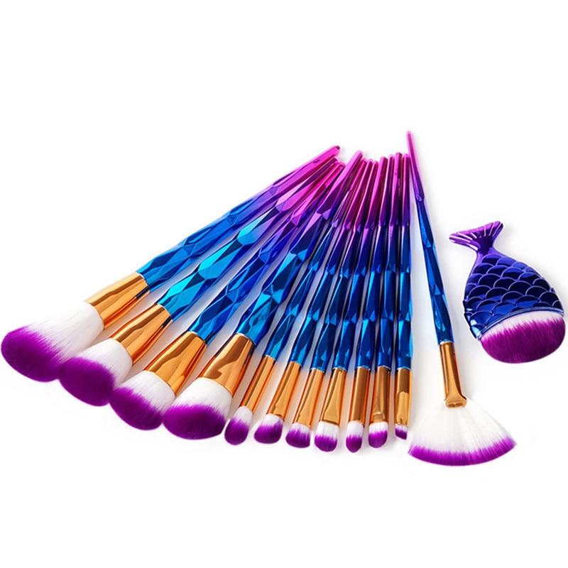13Pcs Diamond Mermaid Makeup Brushes Set Pro Powder Blush Foundation Eye Shadow Eyeliner Lip Cosmetic Brush Make Up Brushes