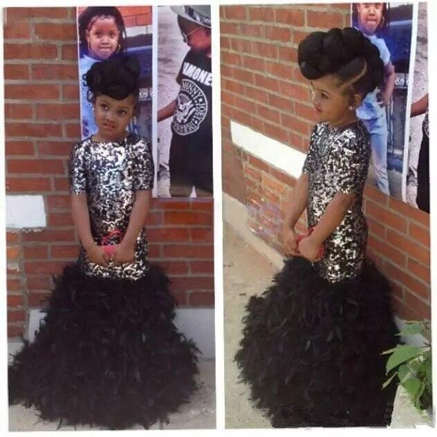 Black Mermaid   Girls   Pageant   Dresses   Sparkly Bling Sequins Ruffles Feather Short Sleeve 2019 Kids Formal   Dress     Flower     Girl     dress