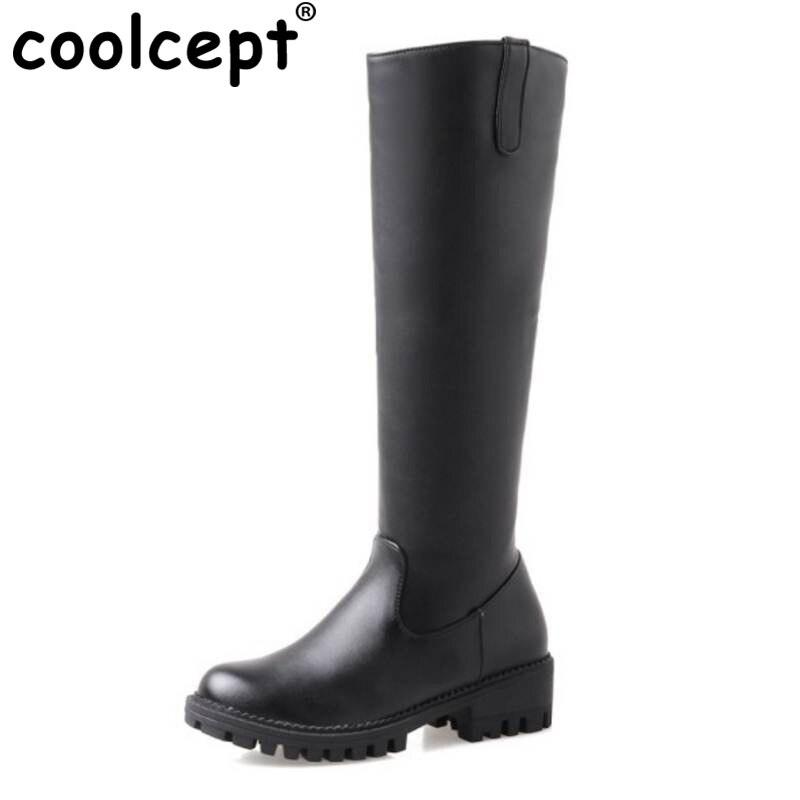 Coolcept Size 33-44 Women High Heel Boots Half Short Boots In Cold Winter Shoes Warm Short Botas Mid Calf Boots Owmen Footwear