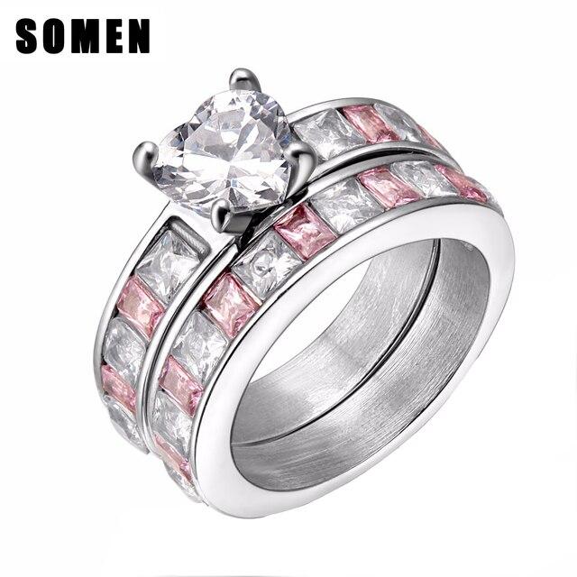 944c64b2d857e Eternidade Coração Rosa Cúbicos de Zircônia Conjunto Anel de Banda De  Casamento Das Mulheres de Aço
